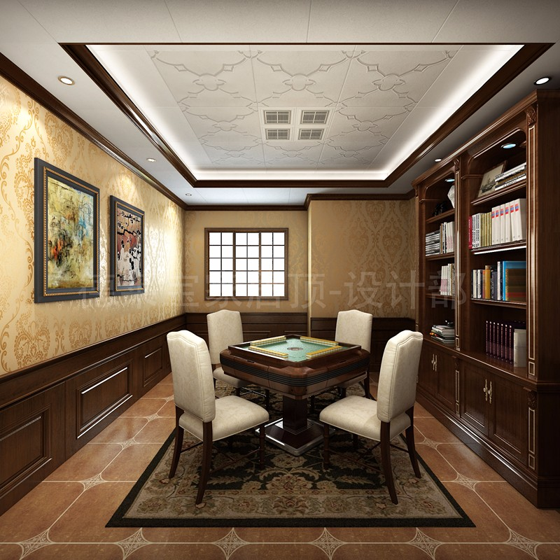 棋牌室用新中式风格来装饰,能更好地静心思索.